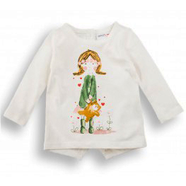 3cf9f241bb61 Μπλουζάκι Μακρυμάνικο σε Λευκό Χρώμα με Στάμπα ΜΙΝΟΤΙ